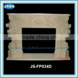 Cream marble fireplace with lady statue