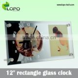 Customised designs glass home decorative wall panel sublimation wooden clock