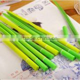 soft Silicone green grass leaf figure ball point pen