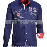 Awesome Wholesale long sleeve navy blue satin pure cotton slim fit nautical shirts for men