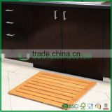 bath bamboo wood floor and shower mat