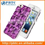 Set Screen Protector And Case For Iphone 5 , Hard Plastic Purple Bling Diamond 3D Crystal Mobile Back Cover