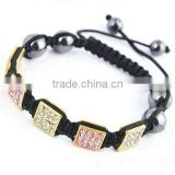 Mix color square pave crystal shamballa bracelet