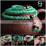 Amulets Tibetan Buddhist Vintage Style Mala Prayer Beads Natural Green and Red Agate Wrist Meditation Bracelet