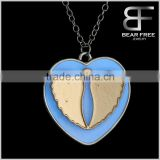 Special Design Glow in the Dark Angel Wings Heart Pendant Necklace for women