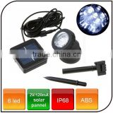 Outdoor high power 6 LED Energy Saving Waterproof solar spotlight for garden