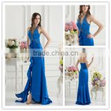 Real Sample Sexy Blue Halter A-line Floor Length Beaded Backless Ruffles Elastic Satin Prom Dress xyy07-017