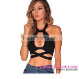 Dear-lover Black Crisscross Cut Out Halter Crop Top top selling products 2016 ladies tops images
