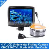 Mini Underwater Fishing Camera 8 IR LEDs 15m Cable Length Inspection CCTV Camera System With 4.3 Inch Color Monitor Fish Finder