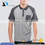 High quality split pocket 200g pique cotton plain dyed grey and brown men's 'two-tone polo shirts
