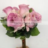 man-made plastic wedding rose bouquet best selling flowers decoration 6 head rose bud bouquet