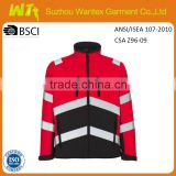 hot sale red and navy fleece jacket heavy polar fleece winter jacket reflective safety clothes