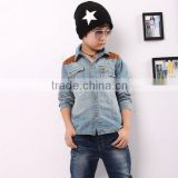 Fashion cowboy clothes top breathable light blue jeans shirt model