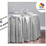 Round Rectangle Sequin Glitter Banquet Hotel Dining Tablecloth For Event Decoration