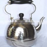 Brass nickle plated hammered finish tea kettle, Brew kettle, , Portable kettle, Stovetop kettle, Hot water kettle
