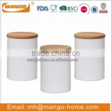 Wooden Airtight Lid Metal Kitchen tea coffee sugar Canister Set