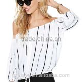 Brief Sexy Black White Striped Long Sleeve Chiffon Women Blouse Slash Neck Casual Sale Sheer Shirts