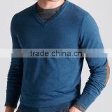 High Quality 12GG casual men's v-neck 100% cashmere sweater with elbow patches (BKNM10)