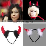Cute Red Horn Sets Bow Tie 3Pcs Tail Party Ox horn Fancy Dress Costume For Christmas Halloween/Carnivals Large/Small Size