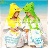 Kids hooded poncho beach towel/poncho towel baby robe animal printed poncho baby beach towel with hood GVKBR1010