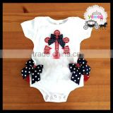 Anchor bow short sleeve baby clothes romper softextile newborn baby clothing july 4th baby rompers