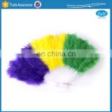 Mardi Gras Feather Folding Hand Fan