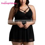 Hot Sale Stylish Black Transparent Fat Women Sexy Lingerie