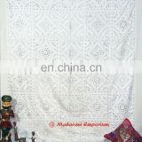 White Embroidery Mirror Work Bed Sheet King Size Indian Handmade Bedspreads Home Furnishing Royal Old work Bed cover decor art