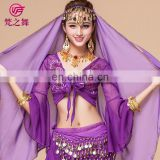 High embroidery net cloth arabic performance belly dance top wear S-3032#