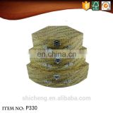 Scallop shape retro weave bamboo decorative pattern cardboard suitcase box with lock and handle