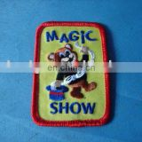 China supplier Wholesale OEM cheap custom rectangle shape MAGIC SHOW design embroidery patches,customized velc backing badge