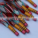 fashion sublimation printing flat shoelace with pencil shape metal aglets