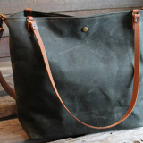 large waxed canvas tote bag with long shoulder