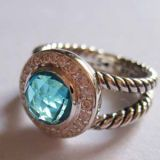 925 Silver Jewelry 8mm Blue Topaz Petite Albion Ring(R-021)