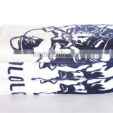 China towel manufactory famous brand /logo customized velour reactive printed bath towel