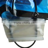 Factory beach towel bag vinyl beach bag girls large waterproof bag with zipper blue color