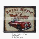 Car metal framed tin signs,decorative metal tin sign for wall decors, retro embossed metal signs for wall decors