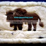 "Alpaca Pillow Case Fur Alpaca Rug 28x20"" Peru Buffalo design"