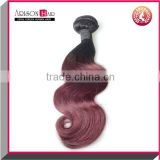 Hot Sale 7a Grade Two Tone Colored Black&Red Ombre Brazilian Human Hair Weave Bundles 1b 99j