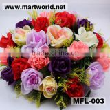 Wholesale mix color artificial flower for wedding decoration; Silk,plastic rose bouquet for home,hotel,event&party(MFL-003)