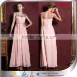 2015 Elegant Cap Sleeves Pleating Beaded Bridesmaid Dress Pink Chiffon