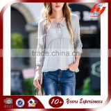 Latest design elegant summer women casual loose lace chiffon short blouse and tops woman shirts