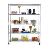 4 Tier custom kitchen vegetable metal storage rack metal rack system with wheels