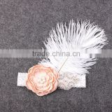 Amazing Ostrich Feather Flower Lace headband,pearl rhinestone center satin flower baby headband                                                                                                         Supplier's Choice