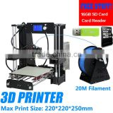 New 3dprinter Big Size High Precision Reprap Prusa i3 DIY 3D Printer Kit with Aluminium Hotbed & Filament & SD Card & LCD Screen