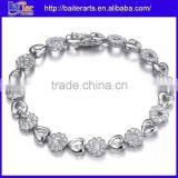 New 925 Sterling Silver White Diamond Tennis Heart Bracelet Cubic Zirconia Tennis Bracelet