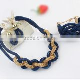 Dark blue necklace and bracelet and earring set,Fashion Simple Weave Metal Necklace Earrings Set Wholesale
