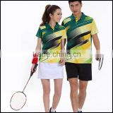 2015 new design short badminton jerseys of unisex and custom design badminton jersey in wholsale