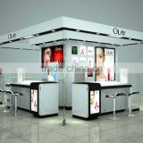 Customized modern best price luxury kiosk wooden glass showcase and cabinet cosmetics display case with LED lighted