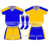 Custom new design kids football jersey cheap soccer uniforms for children sports wear factory